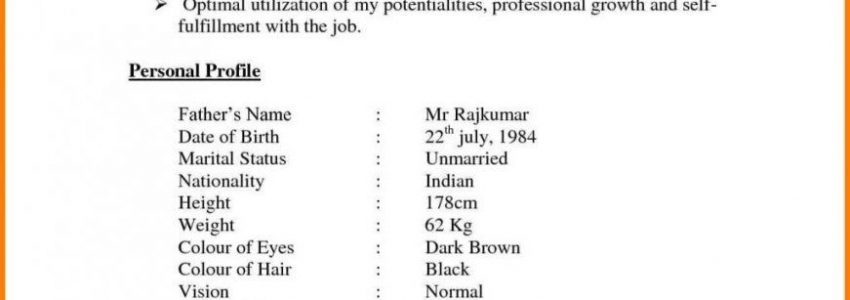 Resume Examples For Jobs In India