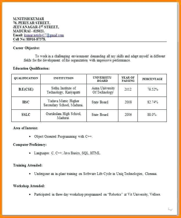 Resume Format For Job Interview