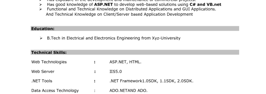 Resume Objective For Fresher Software Engineer