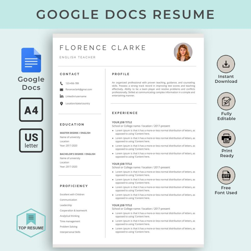 Resume Template Google Docs With Photo