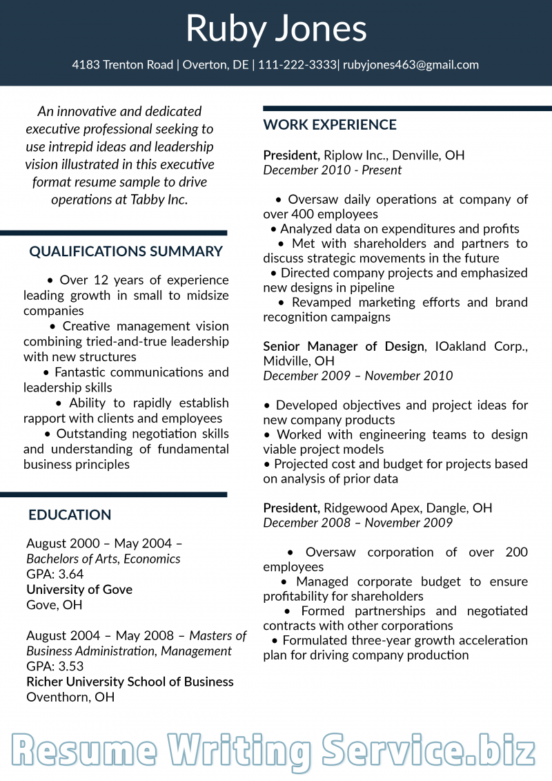 Resume Writing Examples 2019