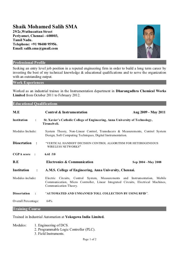 Resume Samples For Freshers Engineers