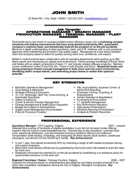 Professional Summary For Resume Operations Manager