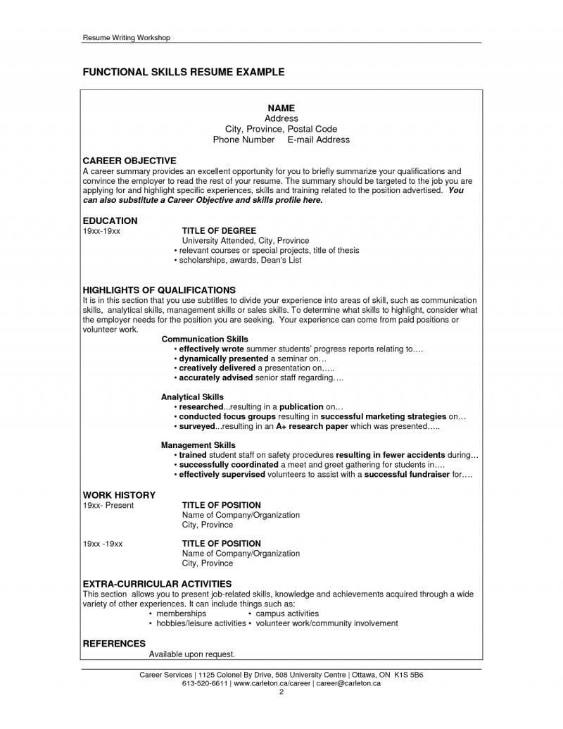 Resume Examples For Job Skills