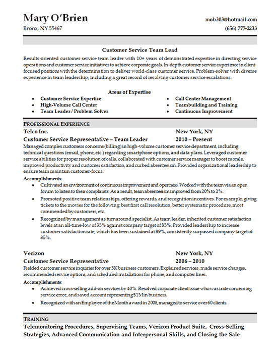 Resume Skills For Customer Service Examples