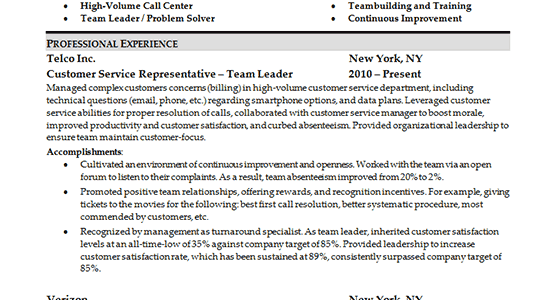 Resume Skills Section Example Customer Service