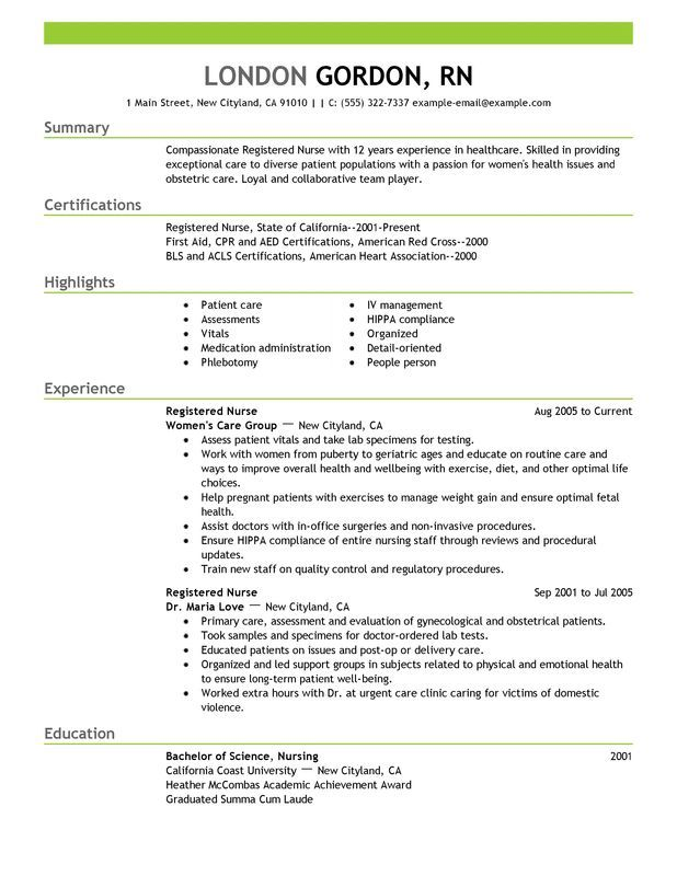 Professional Resume Examples For Nurses