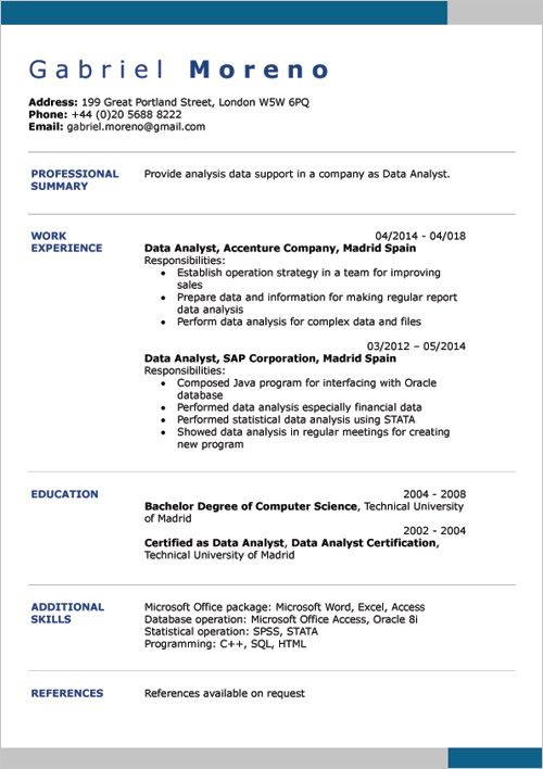 Resume Example In English Word