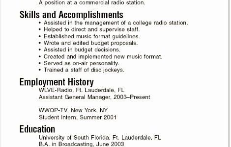 Simple Resume Examples For Students